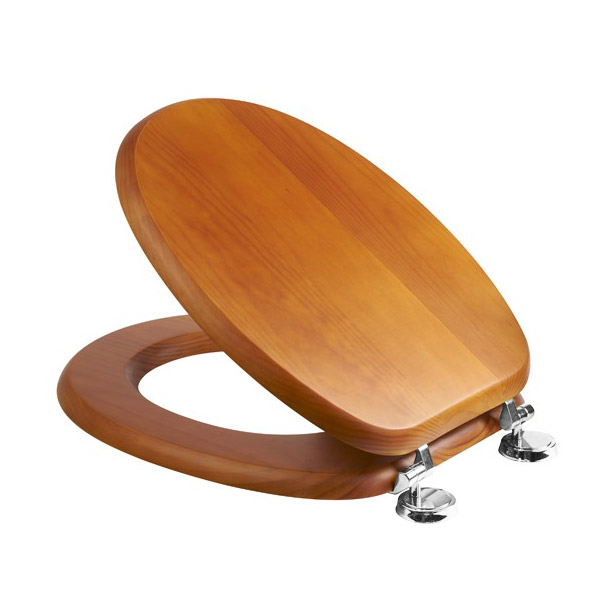 Croydex Sit Tight Douglas Antique Pine Toilet Seat with Chrome Hinges - WL530650H Large Image