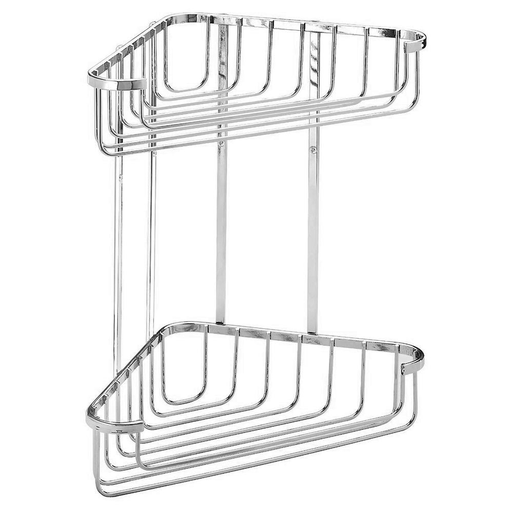 Croydex Corner Shower Storage Basket Chrome (Large - 2 Tier) Large Image