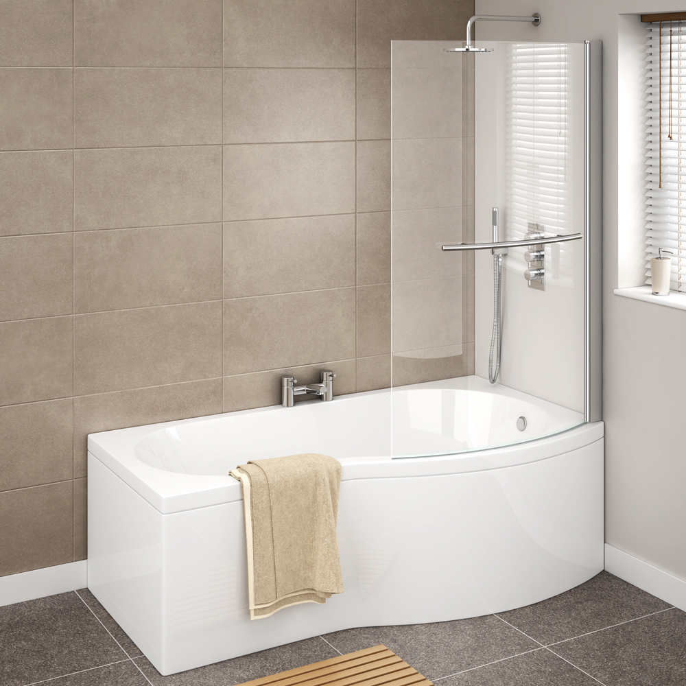 Cruze B Shaped Shower Bath - 1700mm Inc. Screen with Rail & Panel Standard Large Image