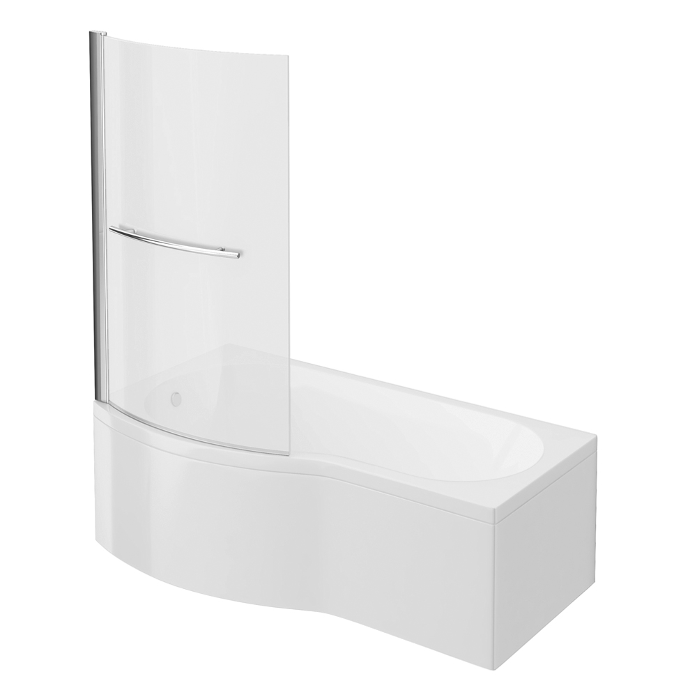 Cruze B Shaped Shower Bath - 1700mm Inc. Screen with Rail & Panel Large Image