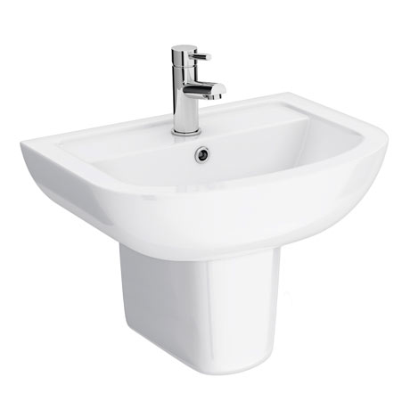 Cruze Basin + Semi Pedestal (550mm Wide - 1 Tap Hole)