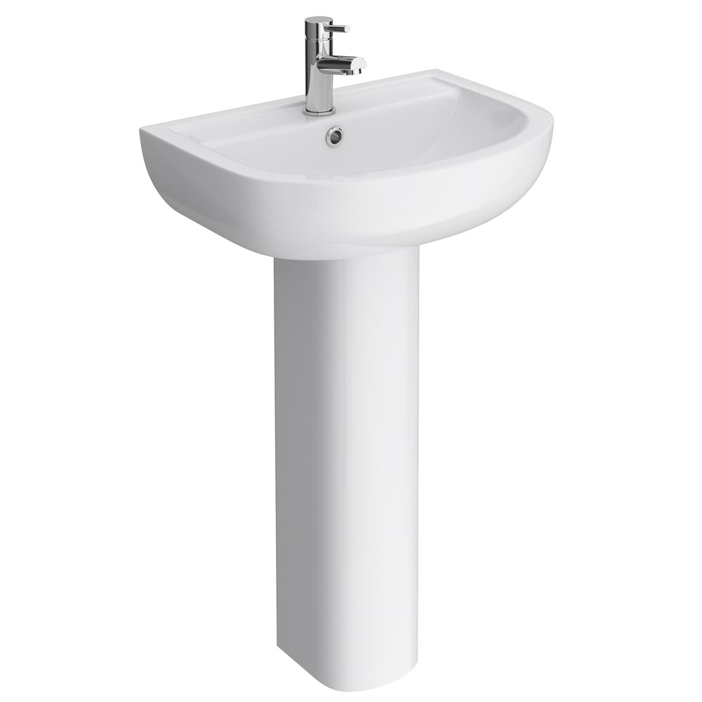 Cruze Basin with Full Pedestal (550mm Wide - 1 Tap Hole)