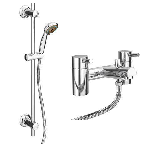 Cruze Bath Shower Mixer with Slider Rail Kit - Chrome