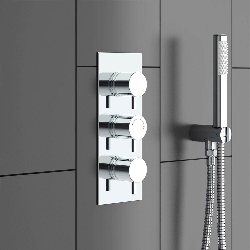 Cruze Triple Round Concealed Thermostatic Shower Valve - Chrome Standard Large Image