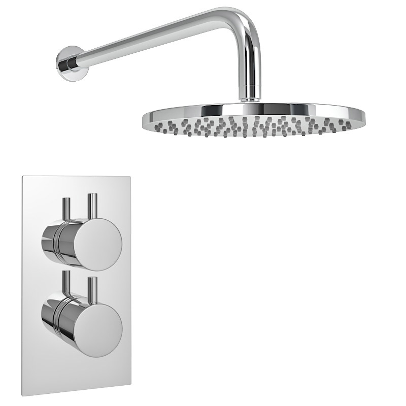 Cruze Concealed Modern Shower Package with Valve + Fixed Round Head profile large image view 2