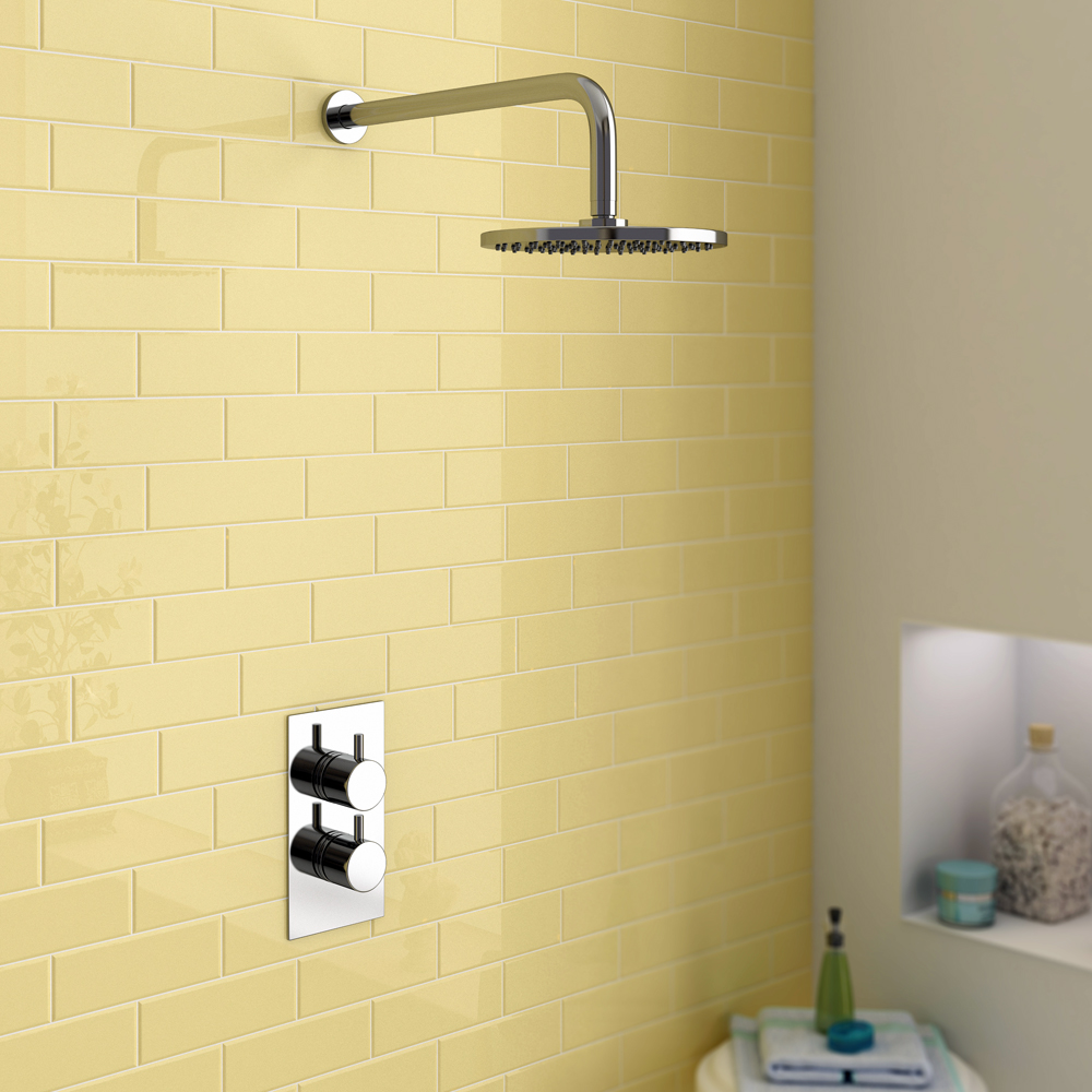 Cruze Concealed Modern Shower Package with Valve & Fixed Round Head Large Image