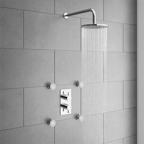 Cruze Concealed Thermostatic Valve with Diverter, Fixed Shower Head & 4 Body Jets