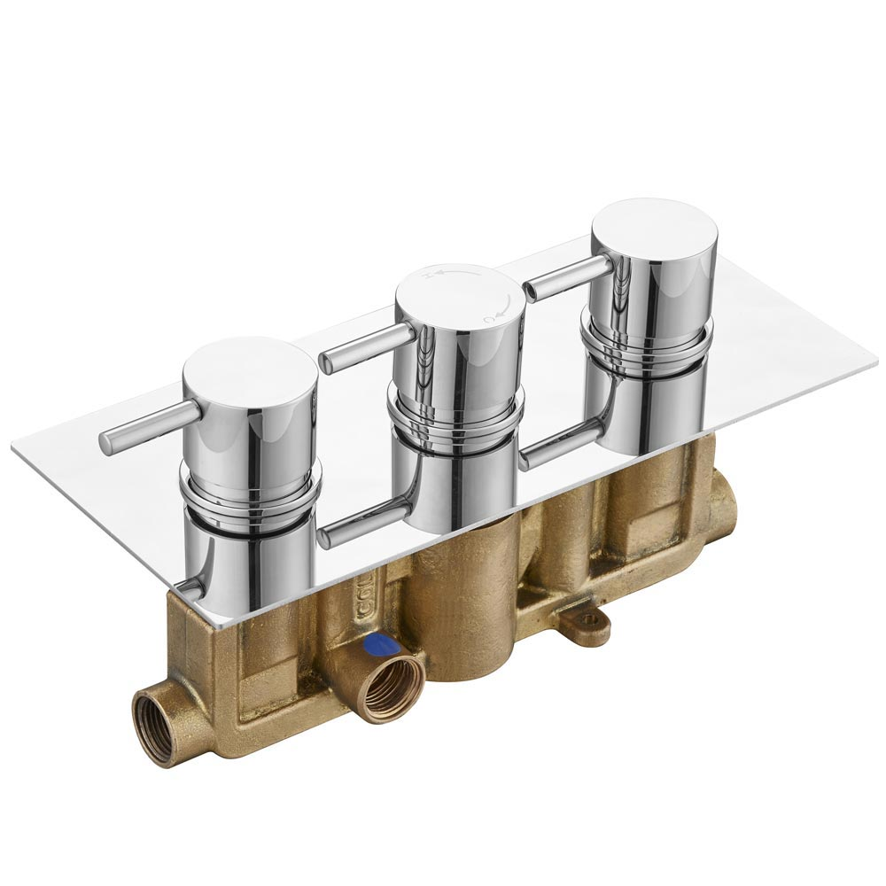 Cruze Concealed Thermostatic Valve with Fixed Shower Head & 4 Tile Body Jets profile large image view 2