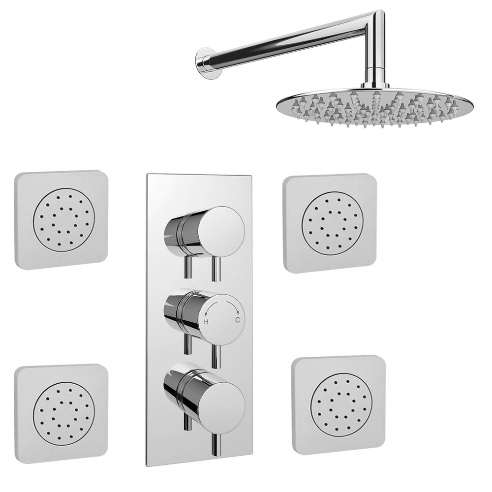 Cruze Concealed Thermostatic Valve with Fixed Shower Head & 4 Tile Body Jets Large Image