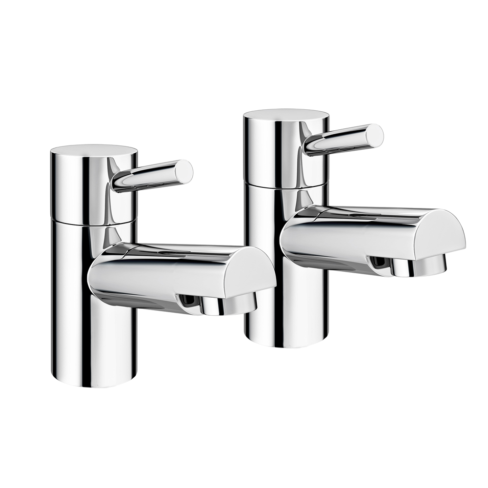 Cruze Contemporary Bath Pillar Taps - Chrome Large Image