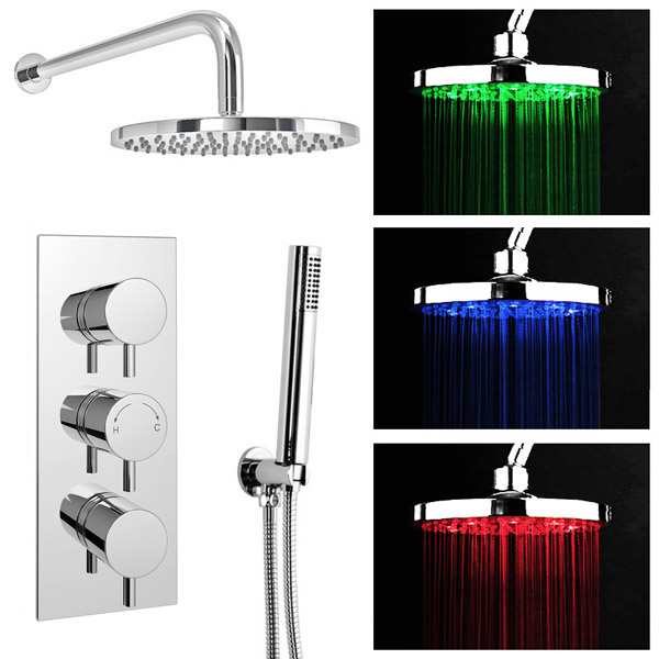 Cruze LED Triple Thermostatic Valve with Round Shower Head & Handset Large Image
