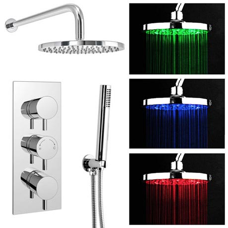 Cruze LED Triple Thermostatic Valve with Round Shower Head & Handset