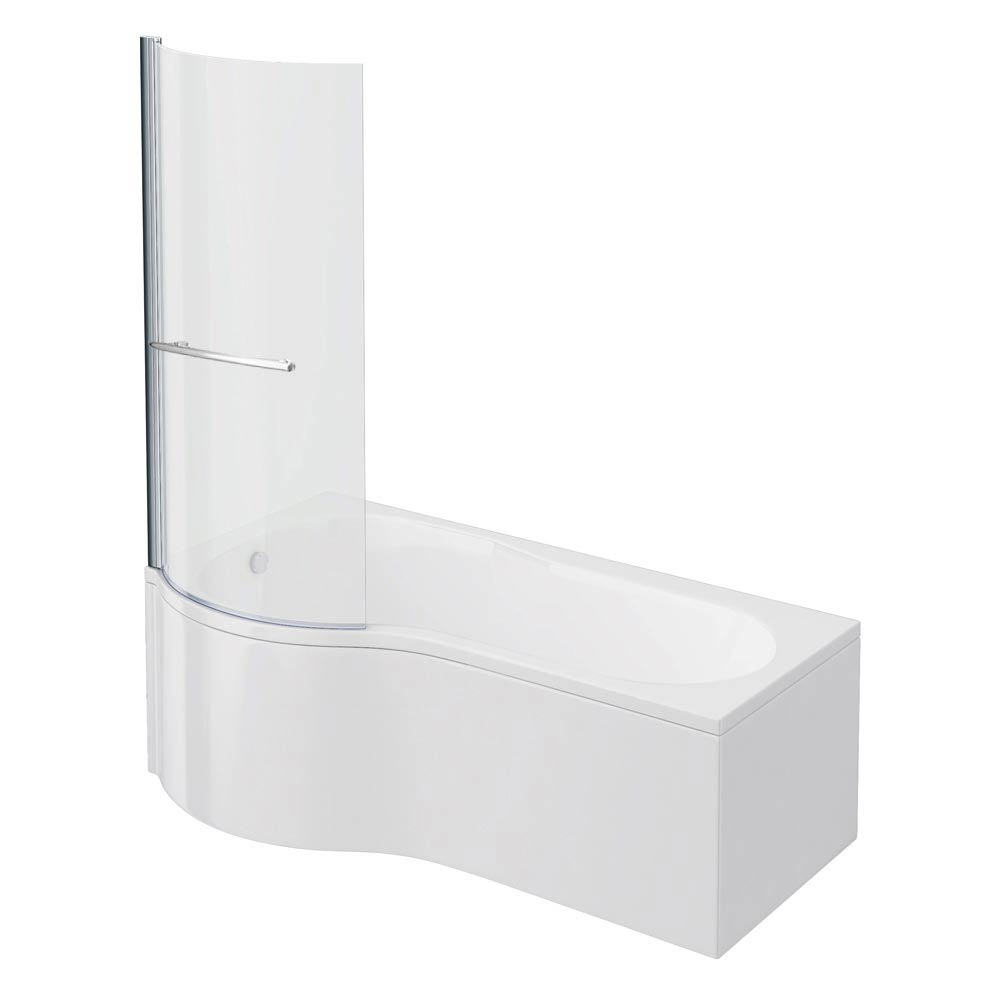 Cruze P Shaped Shower Bath - 1700mm Inc. Screen with Rail + Panel Large Image