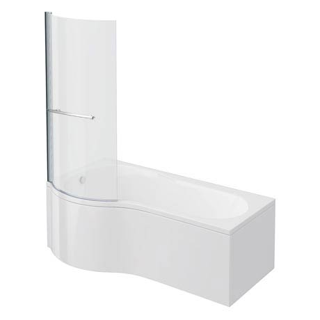 Cruze P Shaped Shower Bath - 1700mm Inc. Screen with Rail + Panel