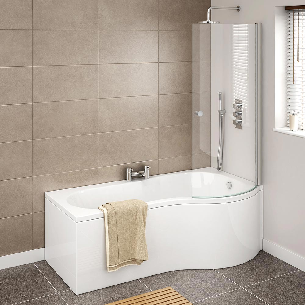 Cruze P Shaped Shower Bath - 1700mm Inc. Screen with Knob + Panel profile large image view 2