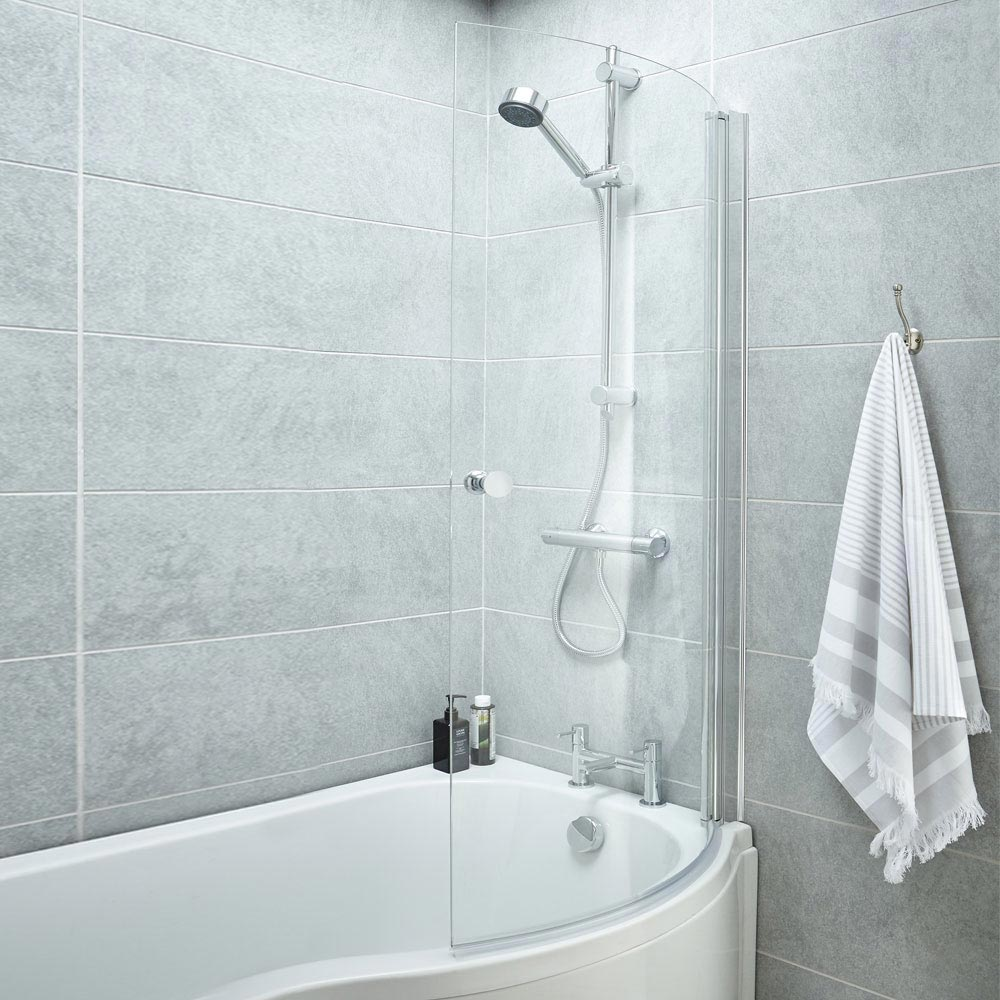 Cruze P Shaped Shower Bath - 1700mm Inc. Screen with Knob + Panel profile large image view 3