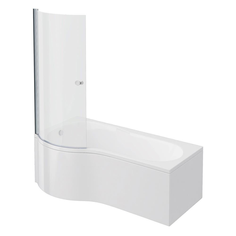 Cruze P Shaped Shower Bath - 1700mm Inc. Screen with Knob + Panel profile large image view 1