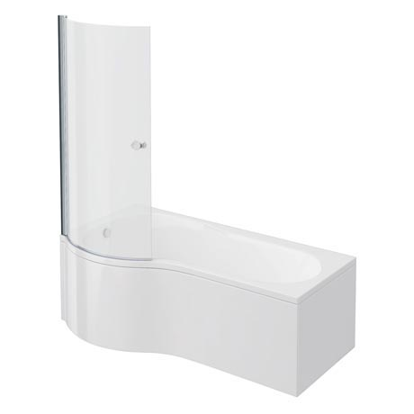 Cruze P Shaped Shower Bath - 1700mm Inc. Screen with Knob + Panel