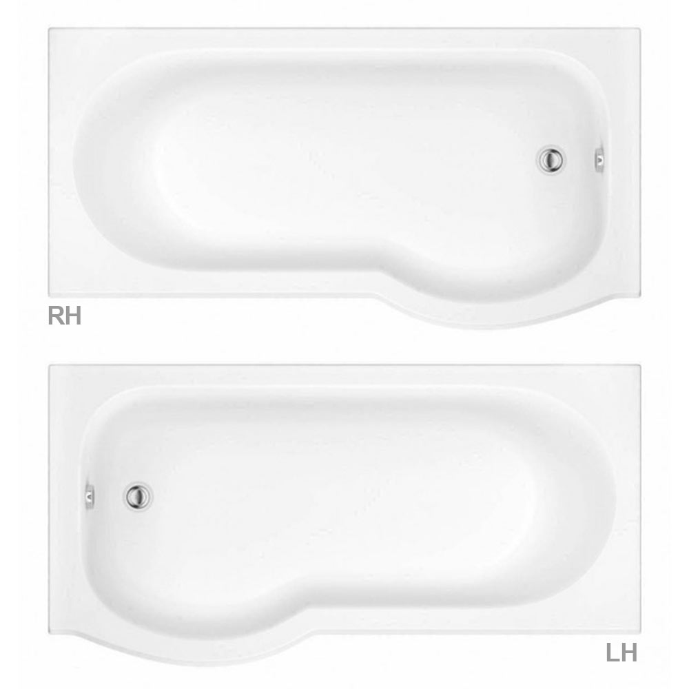 Cruze P Shaped Shower Bath - 1700mm Inc. Screen with Knob + Panel profile large image view 4