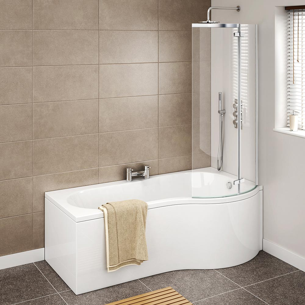 Cruze P Shaped Shower Bath - 1700mm with Hinged Screen & Panel Profile Large Image