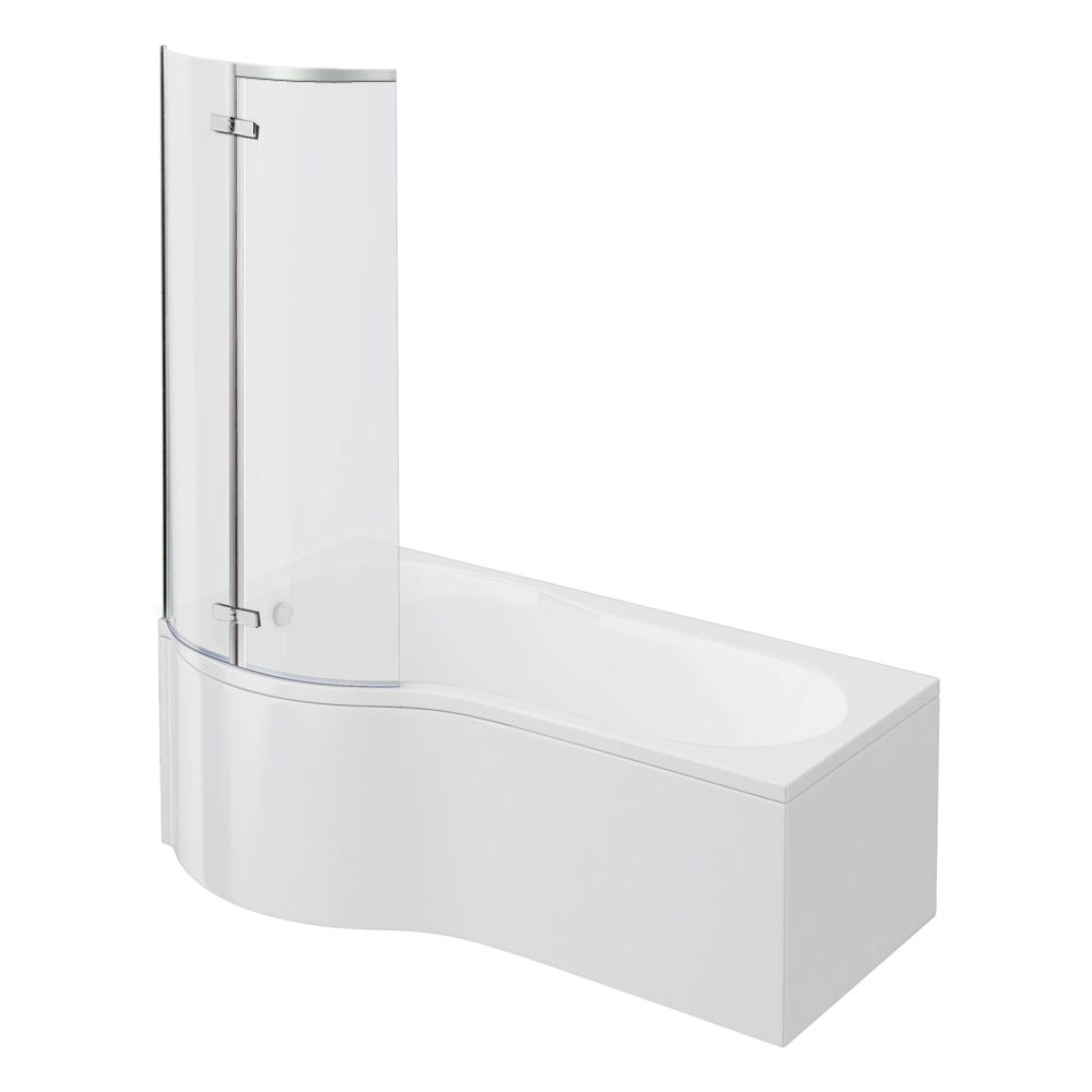 Cruze P Shaped Shower Bath - 1700mm with Hinged Screen & Panel Large Image
