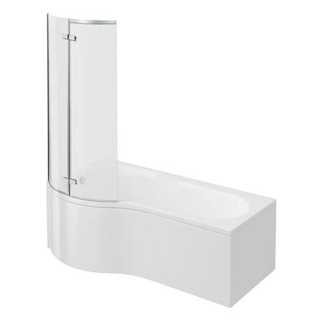 Cruze P Shaped Shower Bath - 1700mm with Hinged Screen & Panel