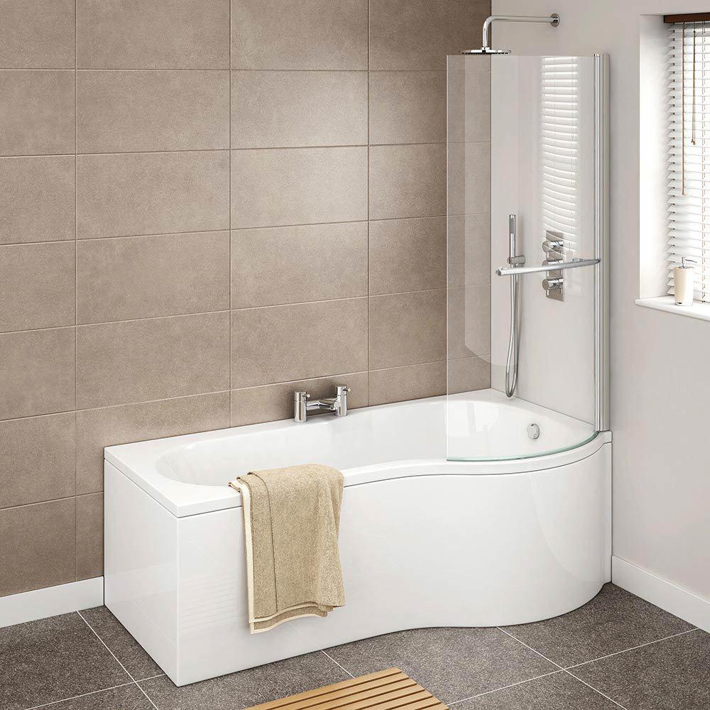Cruze P Shaped Shower Bath - 1700mm Inc. Screen with Rail + Panel  Profile Large Image