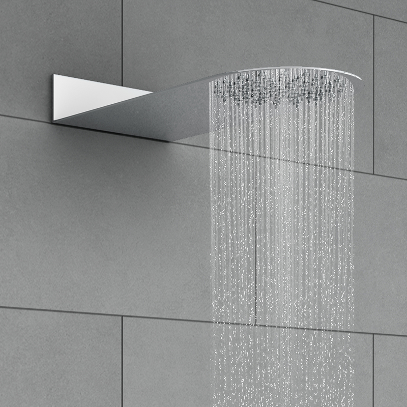 Cruze Round Flat Fixed Shower Head (200 x 430mm) profile large image view 2