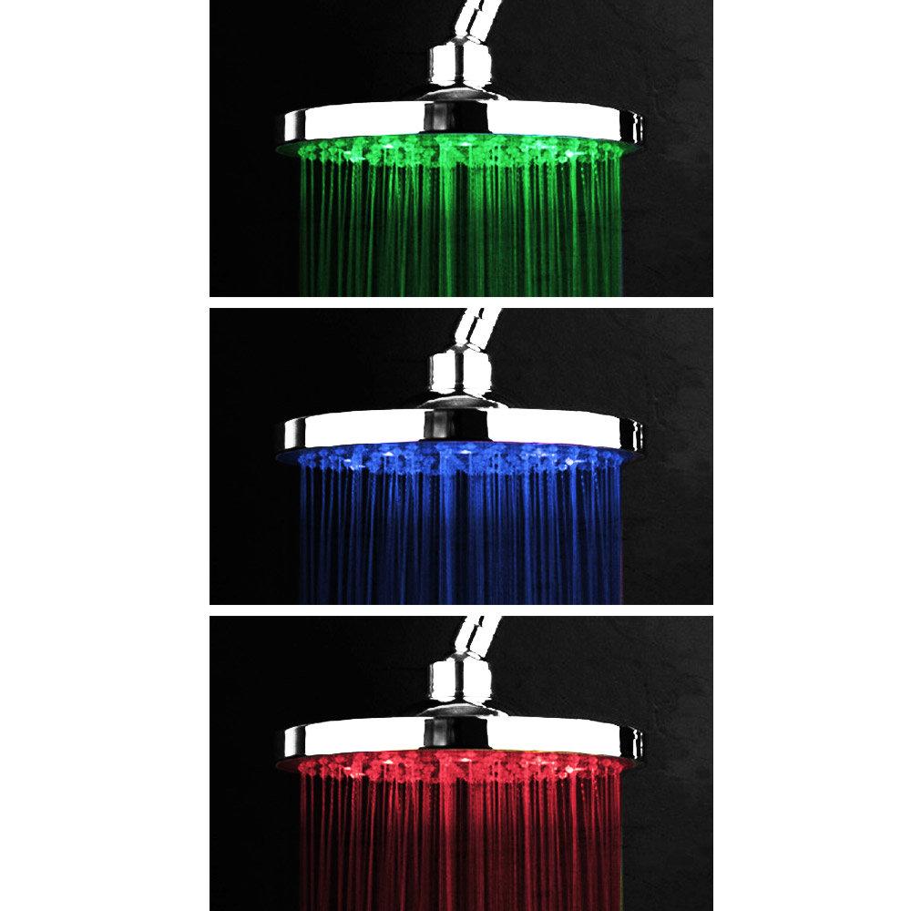 Cruze 200mm Round LED Chrome Shower Head Large Image
