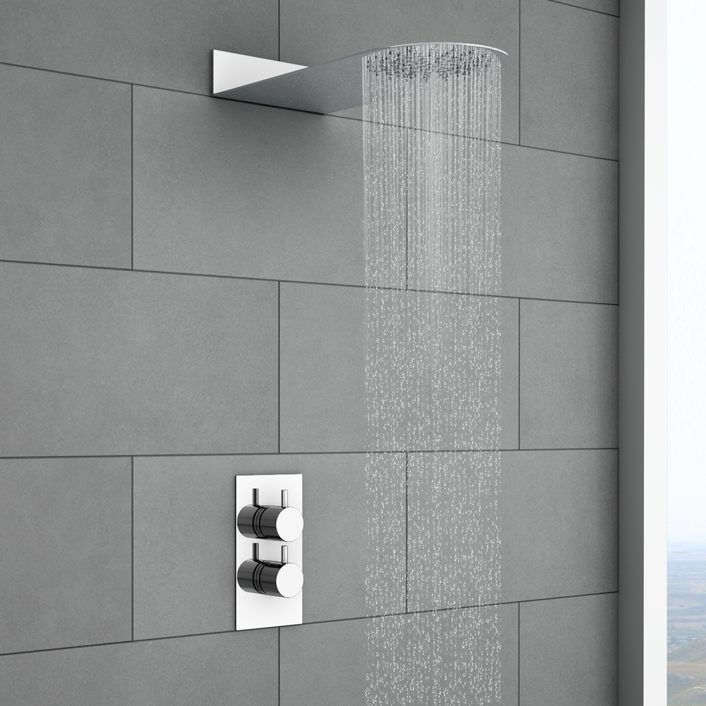 Cruze Round Shower Package with Concealed Valve & Flat Fixed Shower Head Large Image