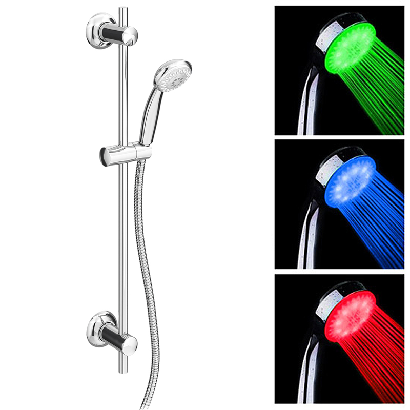 Cruze Round Slider Rail Kit with LED Shower Handset Large Image