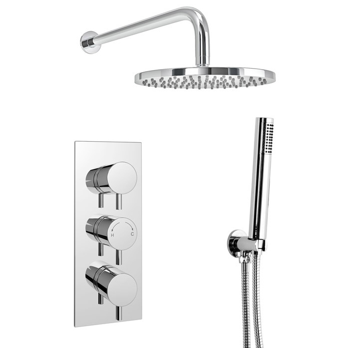 Cruze Round Triple Thermostatic Valve with Round Shower Head & Handset Profile Large Image