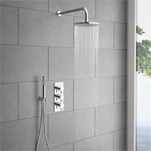 Cruze Round Triple Thermostatic Valve with Round Shower Head & Handset Medium Image