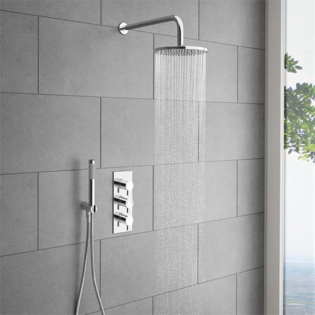Cruze Round Triple Thermostatic Valve with Round Shower Head & Handset