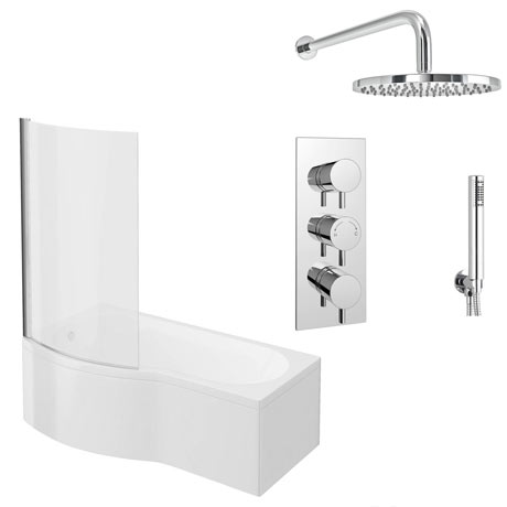 Cruze Shower Bath + Concealed 2 Outlet Shower Pack (1700 B Shaped with Screen + Panel)