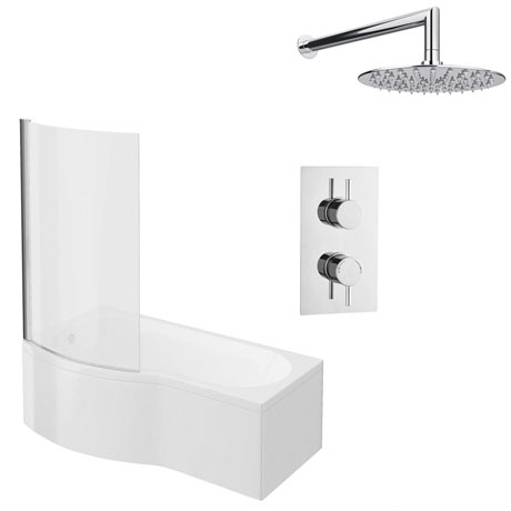 Cruze Shower Bath + Concealed 1 Outlet Shower Pack (1700 B Shaped with Screen + Panel)