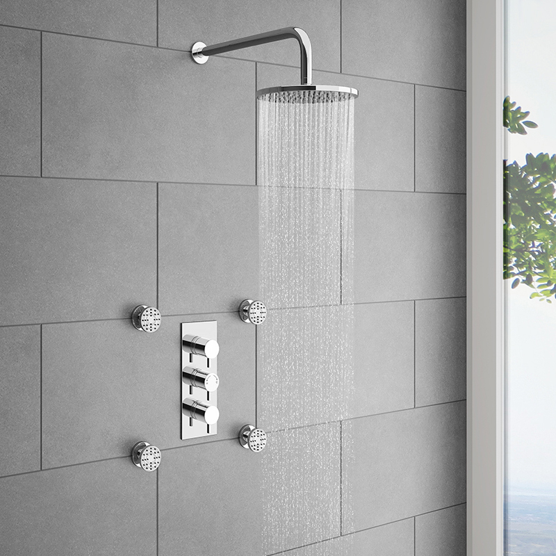 Cruze Triple Concealed Shower Valve with Fixed Shower Head & 4 Body Jets Large Image