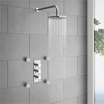 Cruze Triple Concealed Shower Valve with Fixed Shower Head & 4 Body Jets Medium Image