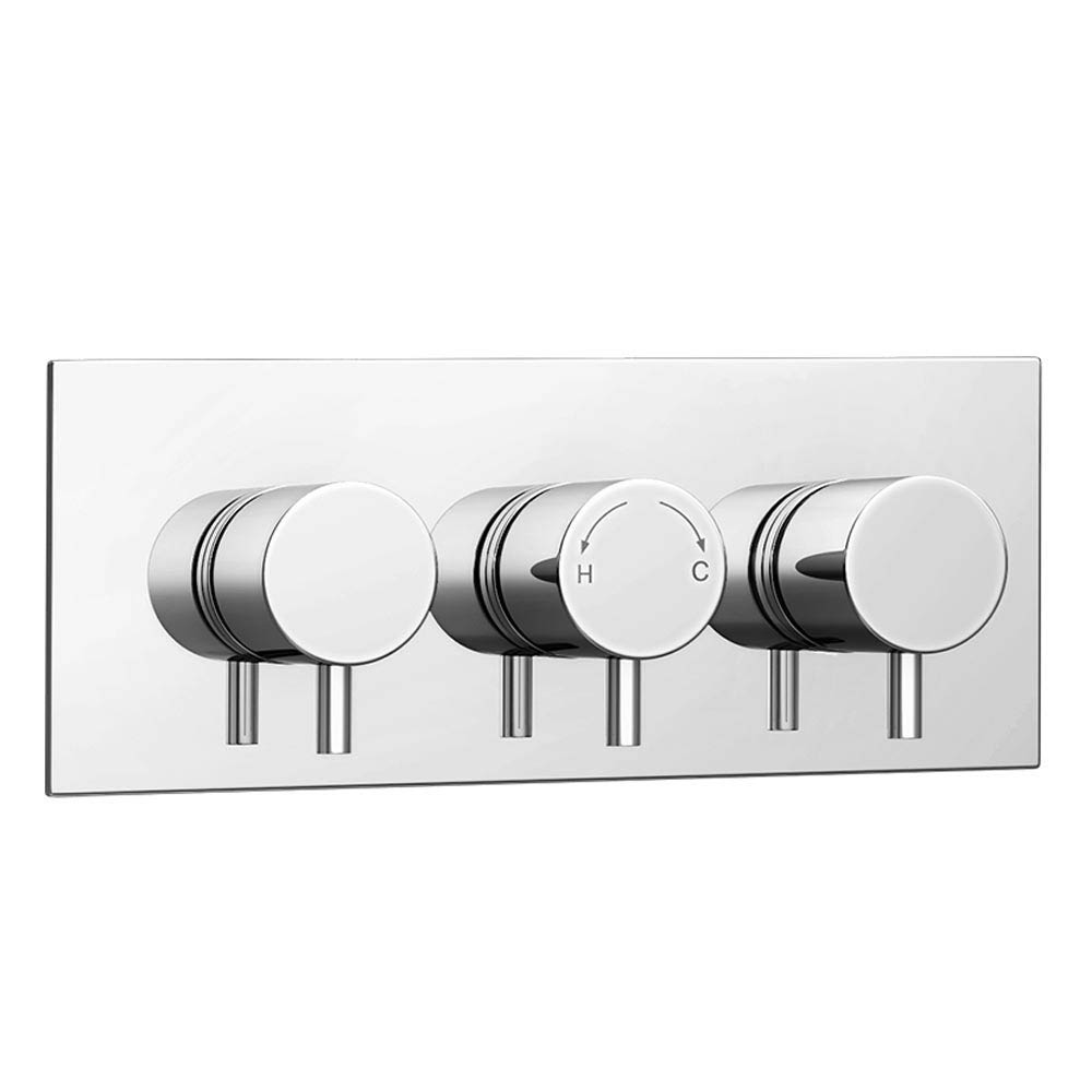 Cruze Triple Round Concealed Thermostatic Shower Valve with Diverter - Chrome profile large image view 2