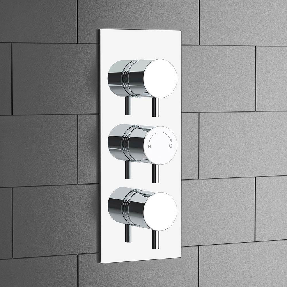 Cruze Triple Round Concealed Thermostatic Shower Valve with Diverter - Chrome profile large image view 3