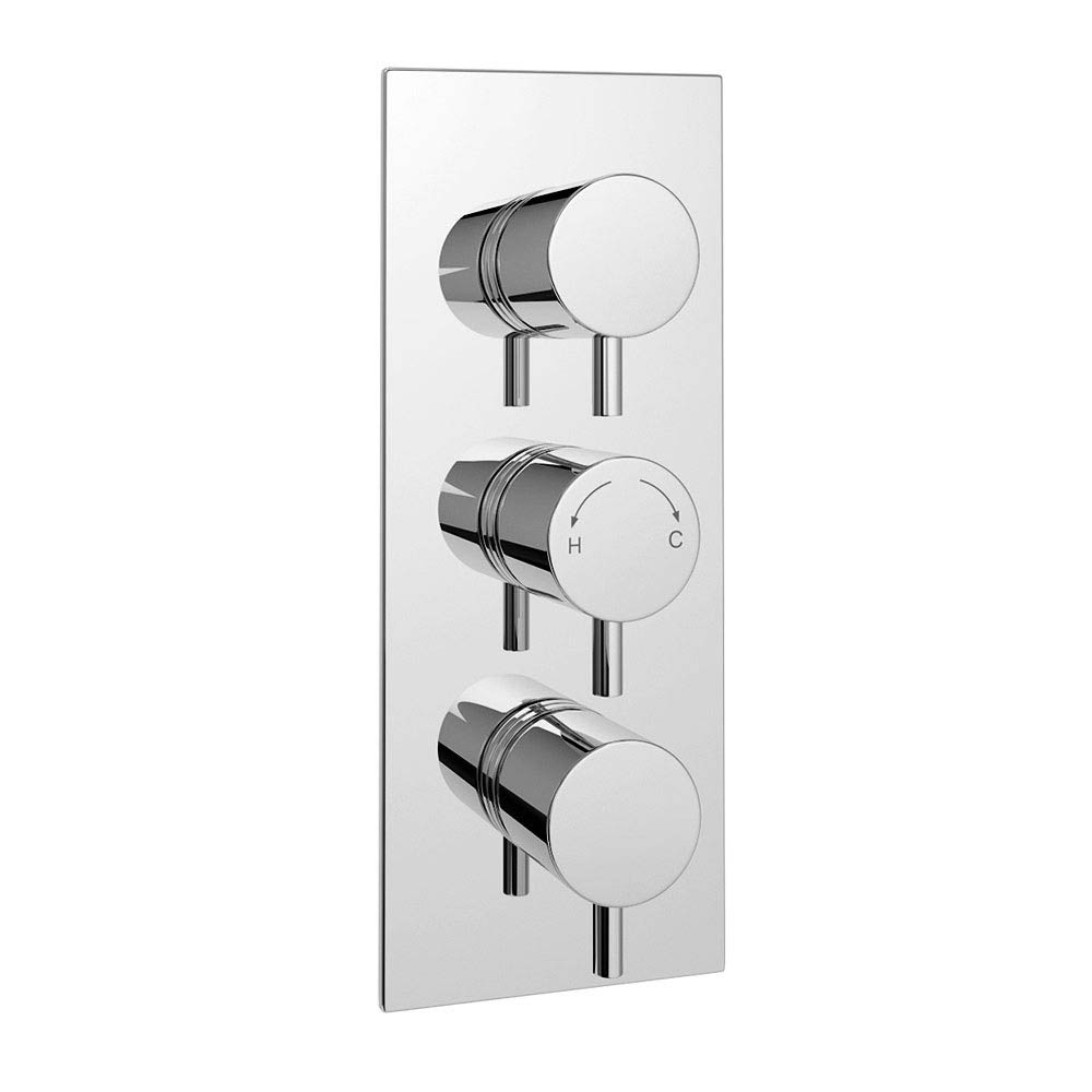 Cruze Triple Round Concealed Thermostatic Shower Valve with Diverter - Chrome Large Image