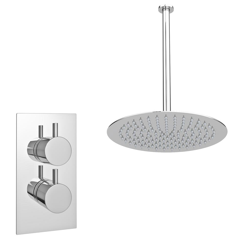 Cruze Twin Concealed Shower Valve inc Ultra Thin Head with Vertical Arm Large Image