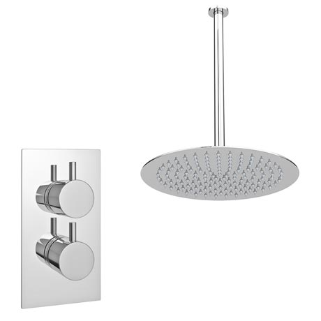 Cruze Twin Concealed Shower Valve inc Ultra Thin Head with Vertical Arm