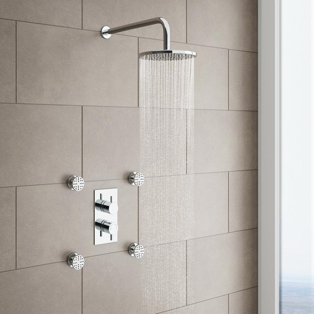 Cruze Twin Round Concealed Shower Valve with Diverter - Chrome profile large image view 2