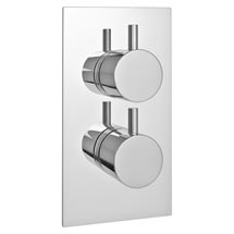 Cruze Twin Round Concealed Shower Valve with Diverter - Chrome Medium Image