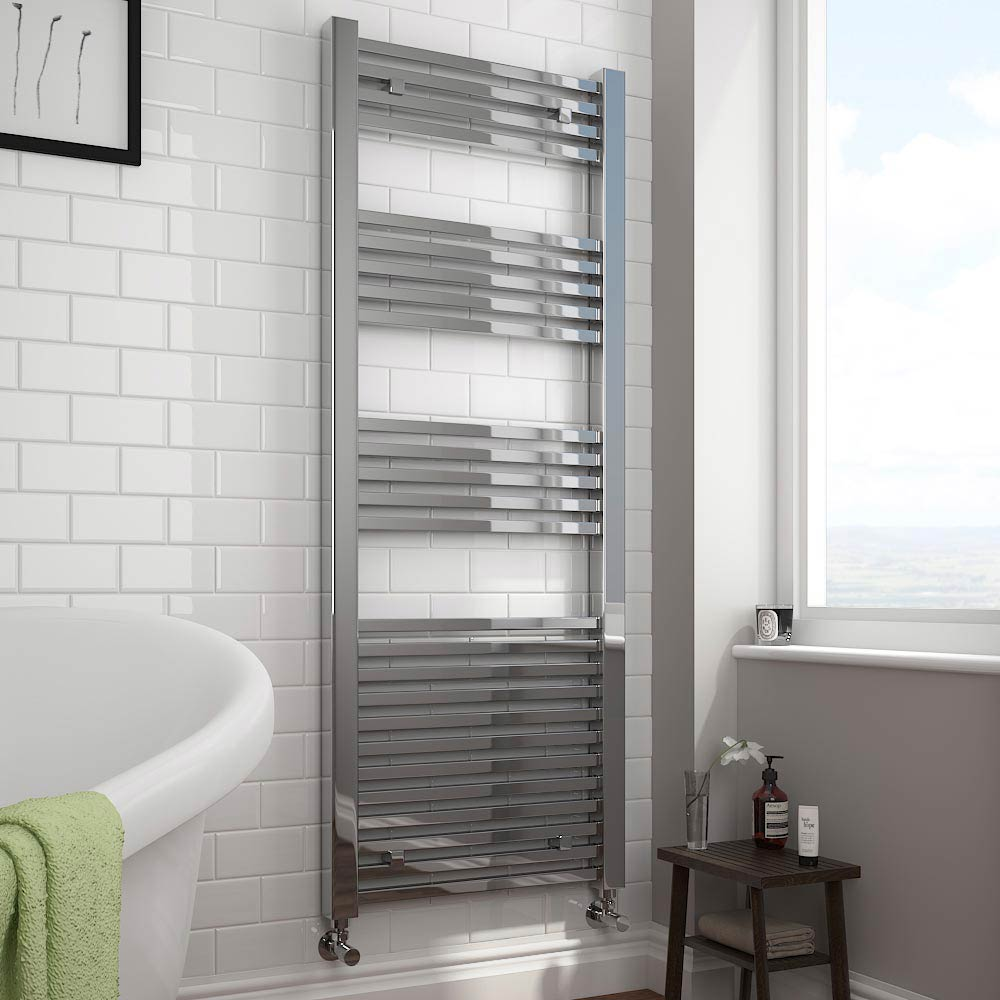 Cube Heated Towel Rail - KUB616C - This stunning ladder heated towel rail is finished in polished chrome and looks exceptional set against a beautiful bathroom wall decorated with white metro tiles
