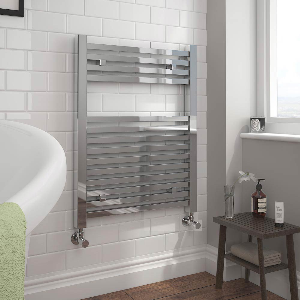 Cube Heated Towel Rail - Chrome (600 x 800mm) profile large image view 2