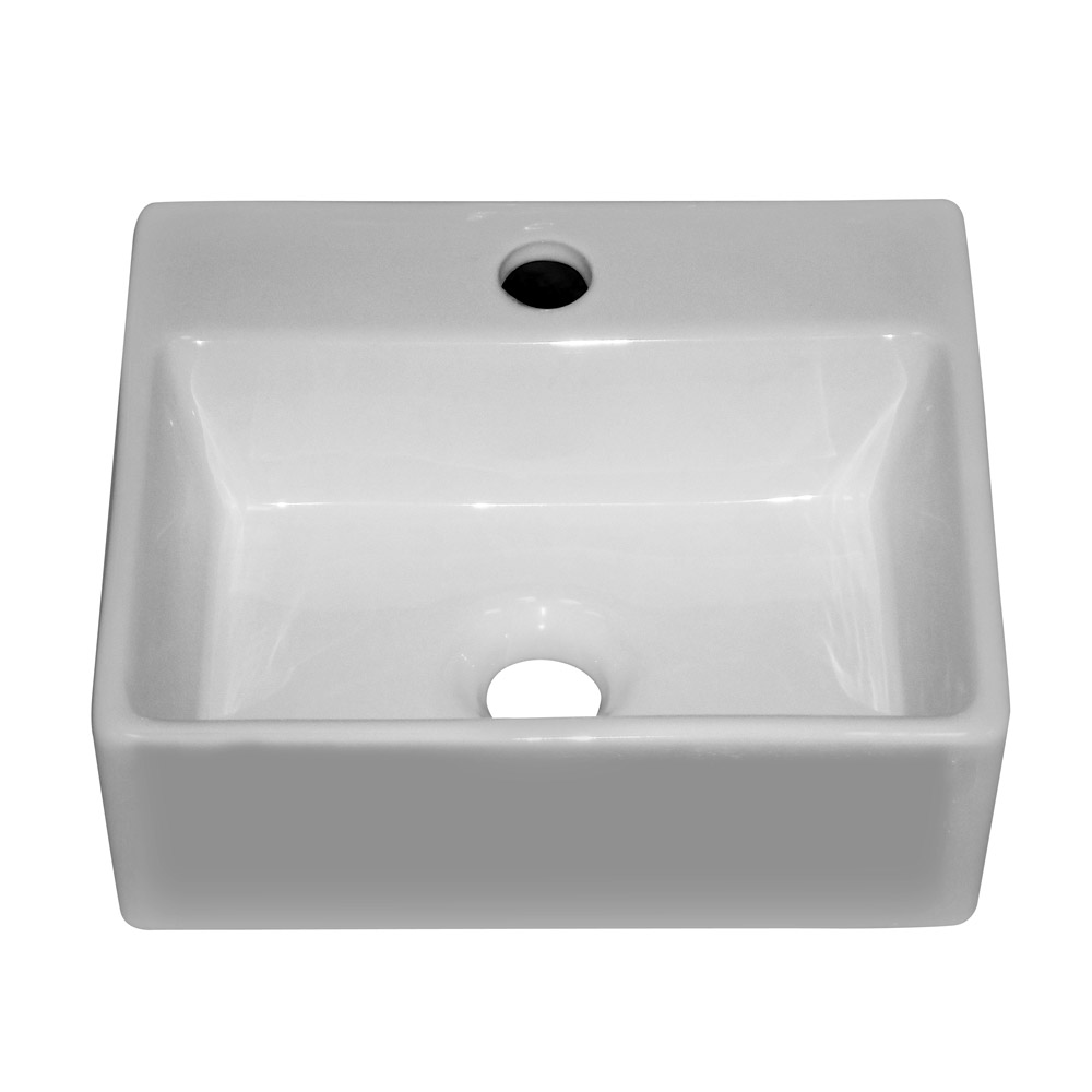 Cubetto Wall Hung Small Cloakroom Basin 1TH - 330 x 290mm Profile Large Image