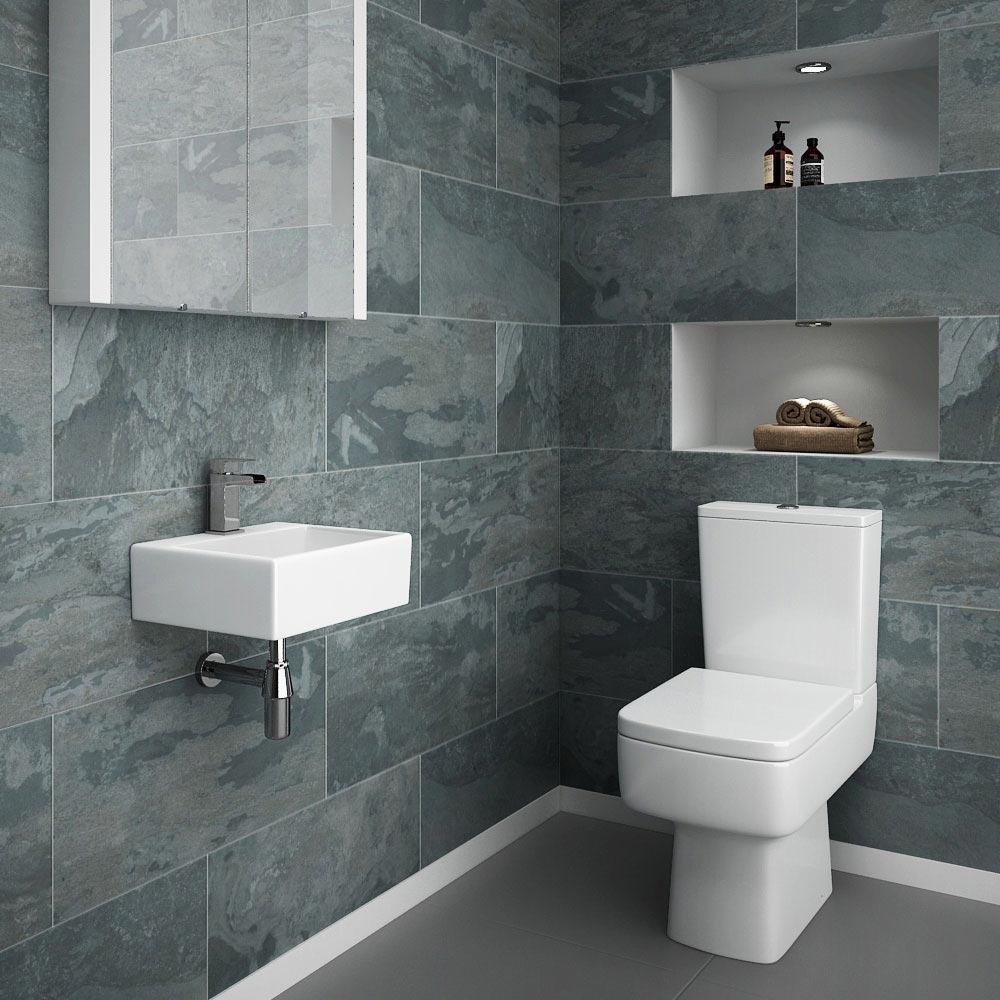 Cubetto Wall Hung Small Cloakroom Basin 1TH - 330 x 290mm Standard Large Image