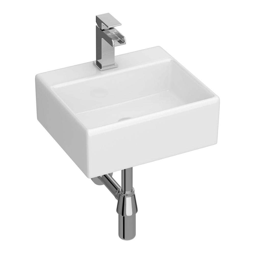 Cubetto Wall Hung Small Cloakroom Basin 1TH - 330 x 290mm Large Image